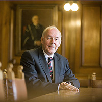 Cardiff university vice-chancellor, David Grant, has blood on his hands